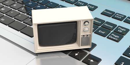 old notebook: Vintage TV on a laptop keyboard. 3d illustration