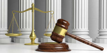Law theme. Justice scale, gavel and classic pillars. 3d illustration Stock Photo