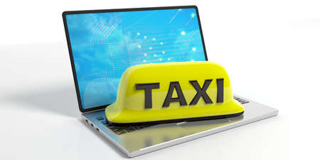 mobile apps: Yellow taxi sign and a laptop isolated on white background. 3d illustration