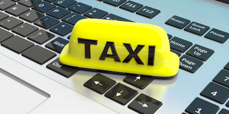 mobile apps: Yellow taxi sign on a computer keyboard. 3d illustration Stock Photo
