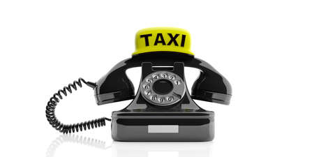 vintage telephone: London taxi concept. Vintage phone and taxi sign on white. 3d illustration Stock Photo