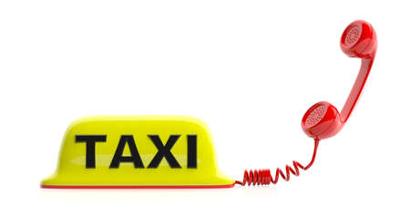 vintage telephone: Yellow taxi sign and receiver isolated on white background. 3d illustration
