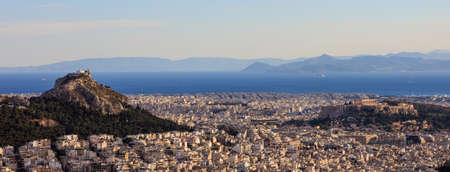 Athens, Greece - Panoramic, aerial view of Acropolis and Lycabettus