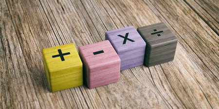 School concept - Math symbols on wooden blocks. 3d illustration