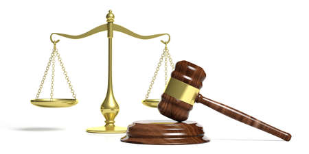 education: Law theme. Judge gavel and justice balance scale on white background. 3d illustration