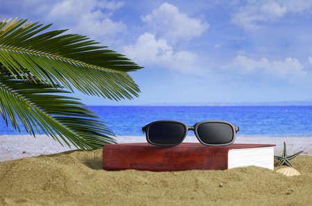 Sunglasses and a book on a sandy beach. 3d illustration