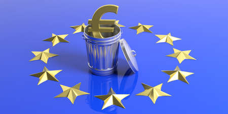 Crisis in the European Union. Golden euro symbol and trash can on a European Union flag. 3d illustration