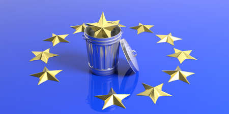 Crisis in the European Union - Trash can on a EU flag. 3d illustration