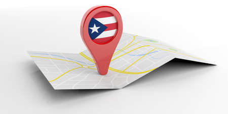 Puerto Rico map pointer isolated on white background. 3d illustration Stock Photo