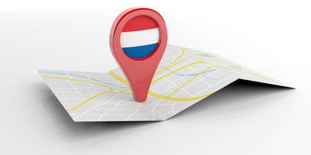 Netherlands map pointer isolated on white background. 3d illustration