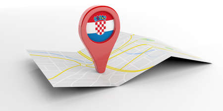bandera croacia: Croatia  map pointer isolated on white background. 3d illustration