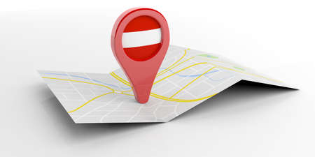 paper pin: Austria map pointer isolated on white background. 3d illustration
