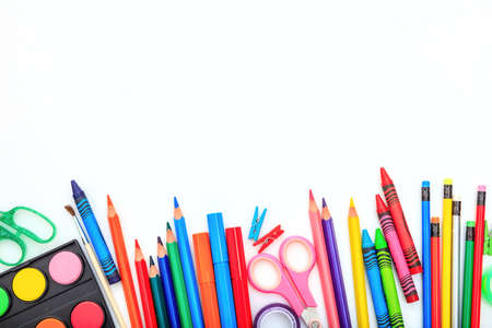 School supplies on white background - space for caption Stockfoto