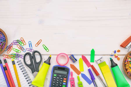 School supplies on white background - space for caption Reklamní fotografie
