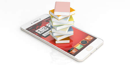 e book device: E-learning concept. Books stacked on a smartphone on white background. 3d illustration Stock Photo