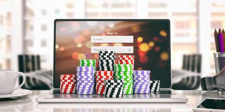Online casino concept. Chips on a laptop. 3d illustration
