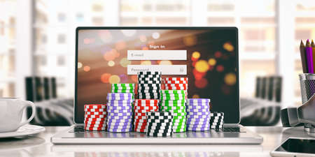 Online casino concept. Chips on a laptop. 3d illustration