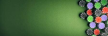 Poker chips stacks on green felt background. 3d illustration Stock Photo