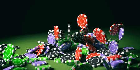 Colorful poker chips falling on green felt background. 3d illustration
