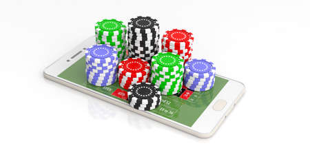 Online casino concept. Chips and smartphone on white background. 3d illustration