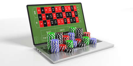 Online casino concept. Chips and laptop on white background. 3d illustration