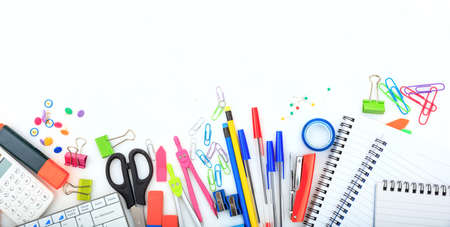 Office - school supplies on white background - copy space