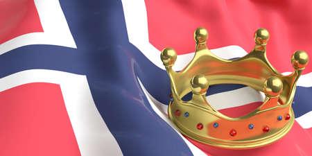 norway flag: Norwegian monarchy. Golden crown on Norway flag background. 3d illustration