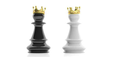 Promotion concept. Black and white pawns with golden crowns on white background. 3d illustration