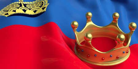 Principality of Liechtenstein. Golden crown on Liechtenstein flag background. 3d illustration Stock Photo