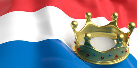 authority: Monarchy of the Netherlands. Golden crown on Netherlands flag background. 3d illustration