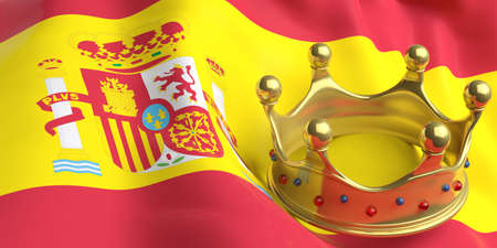 Monarchy of Spain. Golden crown on Spain flag background. 3d illustration Stock Photo