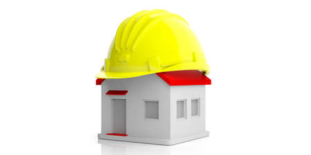 build in: Building construction concept. Hard hat and a model house on white background. 3d illustration Stock Photo
