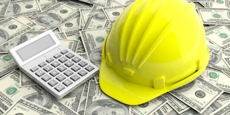 build in: Construction cost concept. Hard hat and calculator on dollars banknotes background. 3d illustration Stock Photo