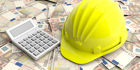 Construction cost concept. Hard hat and calculator on euro banknotes background. 3d illustration Stock Photo
