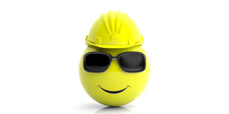 Safety concept. Emoticon wearing a hard hat on white background. 3d illustration
