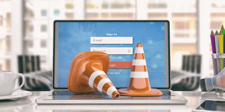 Traffic cones on a laptop -  office background. 3d illustration