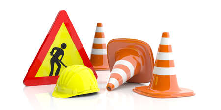 Work in progress concept. Traffic cones and sign and hard hat on white background. 3d illustration Stock Photo