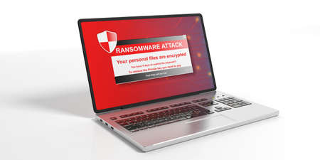 Ransomware alert on a laptop screen - white background. 3d illustration 스톡 콘텐츠