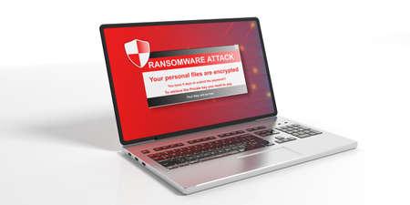menace: Ransomware alert on a laptop screen - white background. 3d illustration Stock Photo