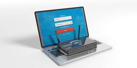 hub computer: Wifi router on a laptop isolated on white background. 3d illustration Stock Photo