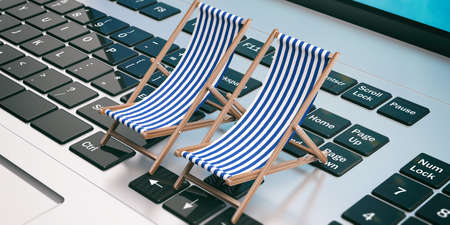 Dreaming summer vacation. Beach chairs on a computer. 3d illustration