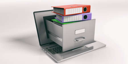 catalog: Laptop data storage. Filing cabinet drawer out of a laptop screen. 3d illustration Stock Photo