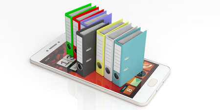 Colorful ring binders on a cell phone on white background. 3d illustration