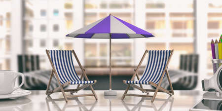 Dreaming summer vacation. Beach chairs and umbrella in an office. 3d illustration Stock Photo