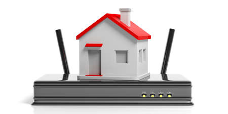 Wifi at home concept. Small house on a Wifi router - white background. 3d illustration Stock Photo