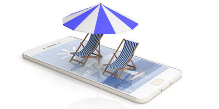 Summer vacation. Beach chairs and umbrella on a cell tphone -  white background. 3d illustration