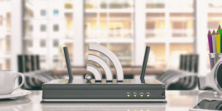 Black wifi router in an office background. 3d illustration Reklamní fotografie