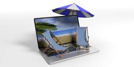 Dreaming summer vacation. Beach chairs and umbrella on a laptop -  white background. 3d illustration
