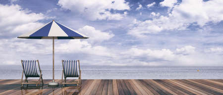 Summer vacation. Beach chairs and umbrella on blue sky and sea background. 3d illustration Stok Fotoğraf