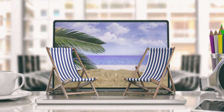 Dreaming summer vacation. Beach chairs on a computer - office background. 3d illustration Stock Photo